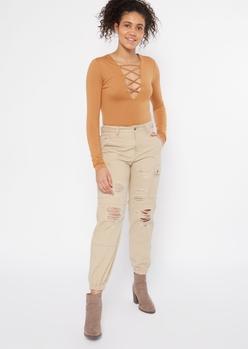 cognac lattice v neck long sleeve super soft bodysuit - Main Image