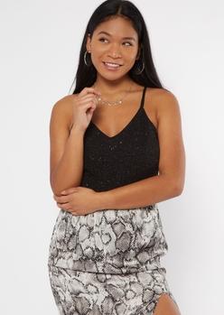 black glitter lace cutout bodysuit - Main Image