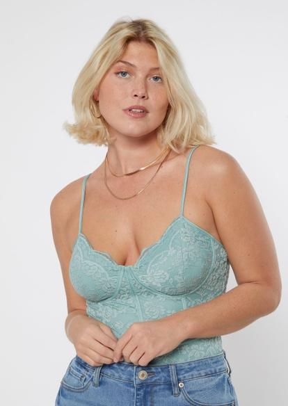 blue scalloped lace trim bodysuit - Main Image