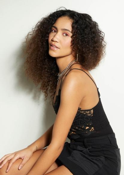 black crochet crisscross bodysuit - Main Image