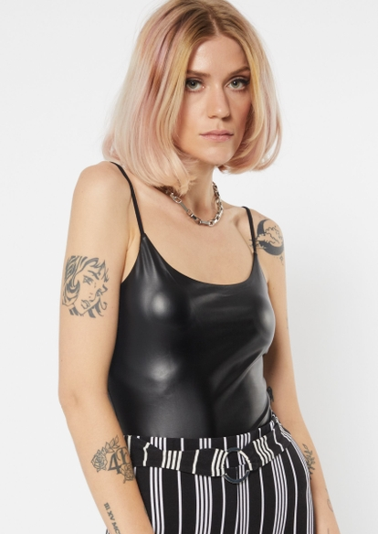 black faux leather sleeveless bungee bodysuit - Main Image