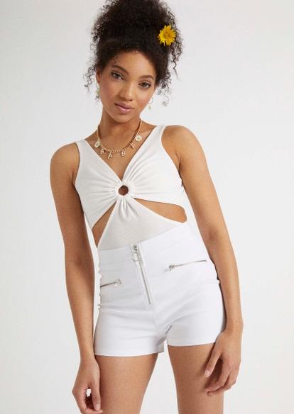 white o ring cutout bodysuit - Main Image