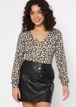 white leopard print hacci knit long sleeve bodysuit - Main Image