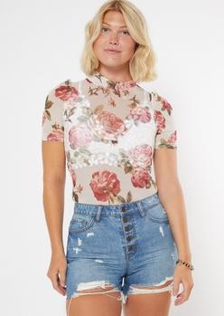 white rose print mock neck mesh bodysuit - Main Image