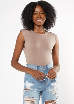 taupe shoulder pad muscle bodysuit - Main Image
