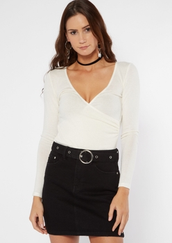 white surplice v neck long sleeve bodysuit - Main Image