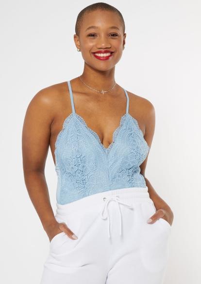 blue scalloped lace low back bodysuit - Main Image