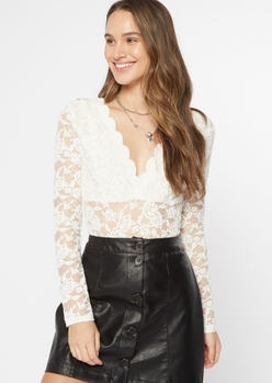 ivory scalloped lace long sleeve bodysuit - Main Image