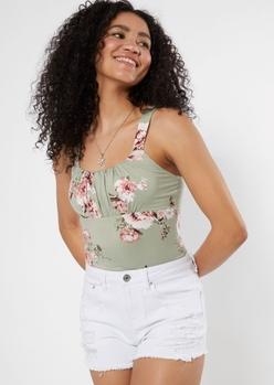 sage green floral print bodysuit - Main Image