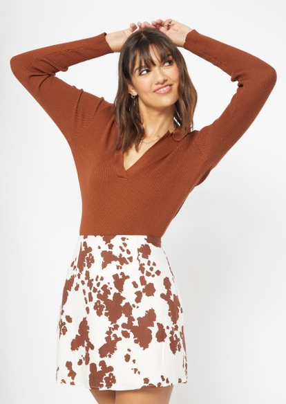 brown knit polo v neck sweater - Main Image