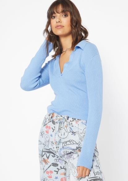 blue knit polo v neck sweater - Main Image