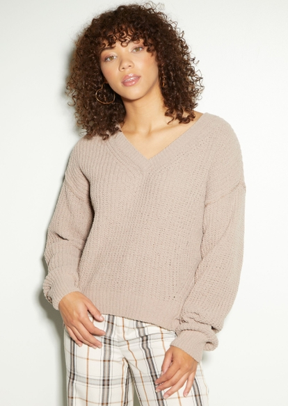 taupe chenille v neck high low sweater - Main Image