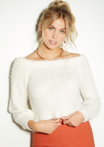 ivory eyelash knit puff sleeve sweater - Main Image