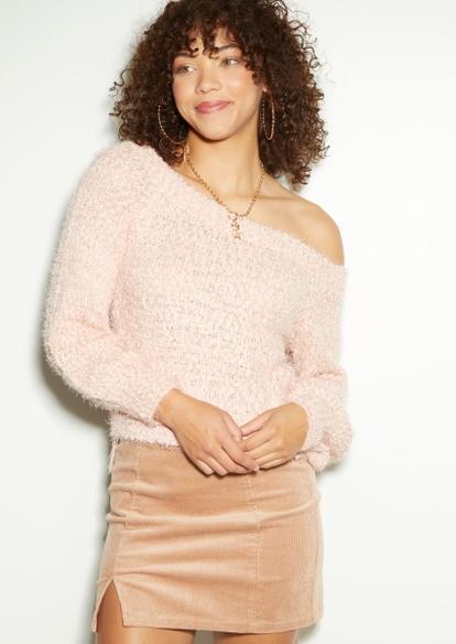 pink eyelash knit puff sleeve sweater - Main Image