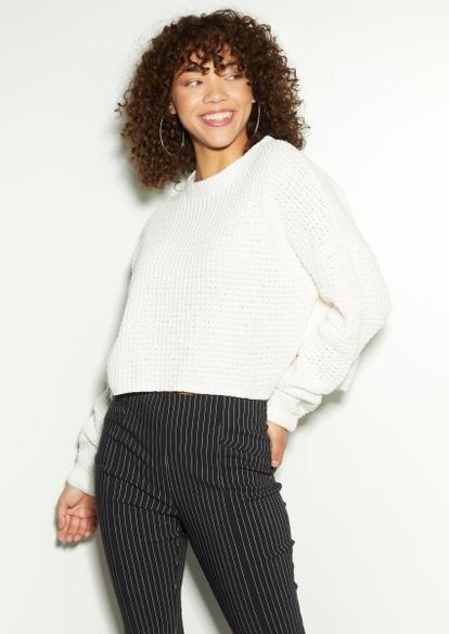 ivory chenille waffle knit sweater - Main Image