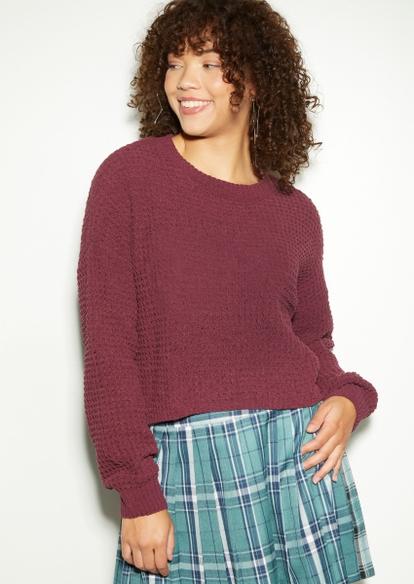 dusty purple chenille waffle knit sweater - Main Image