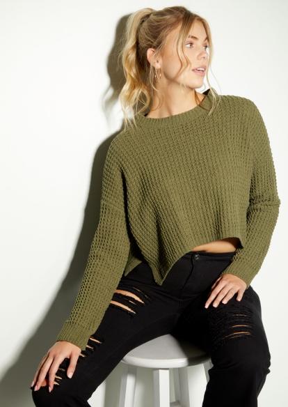 olive chenille waffle knit sweater - Main Image
