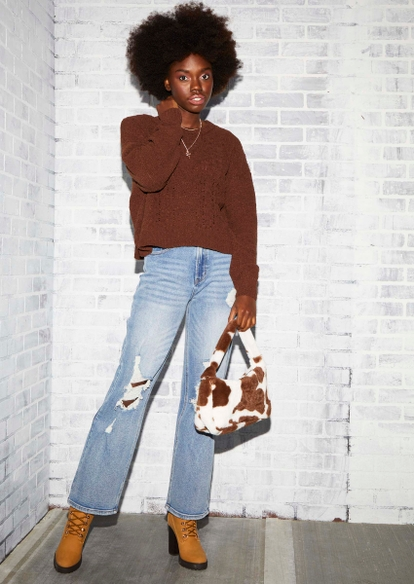 brown chenille cable knit sweater - Main Image