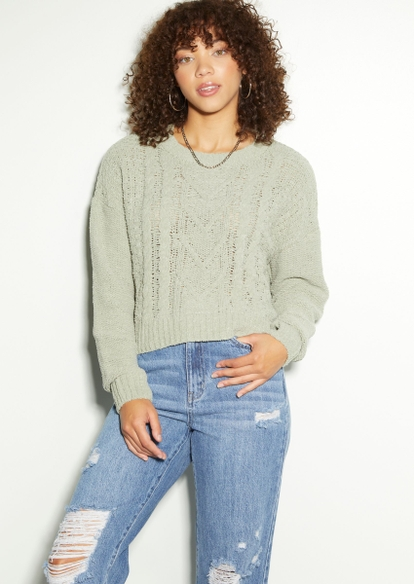 light green chenille cable knit sweater - Main Image