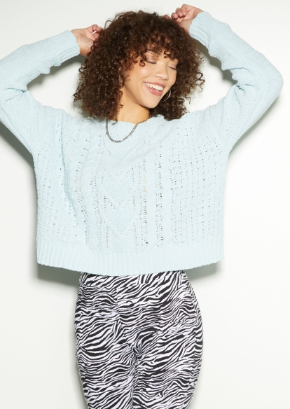 light blue chenille cable knit sweater - Main Image