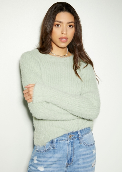 green ribbed eyelash knit sweater - Main Image