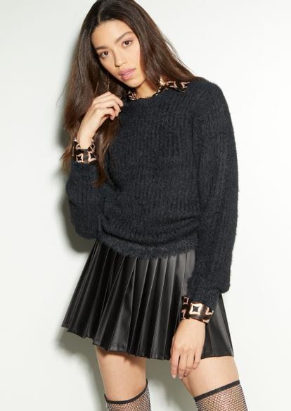 black eyelash side ruched sweater - Main Image