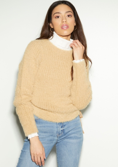 tan eyelash side ruched sweater - Main Image