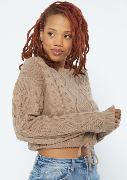 tan cable knit drawstring waist crop sweater - Main Image