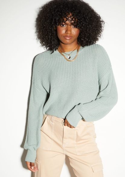 seafoam green skimmer sweater - Main Image
