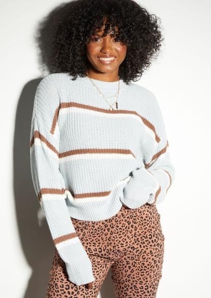 blue striped print skimmer sweater - Main Image