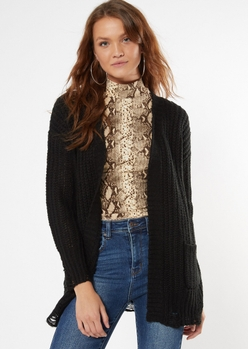 black distressed open front cardigan - Main Image