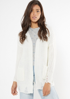 ivory distressed open front cardigan - Main Image