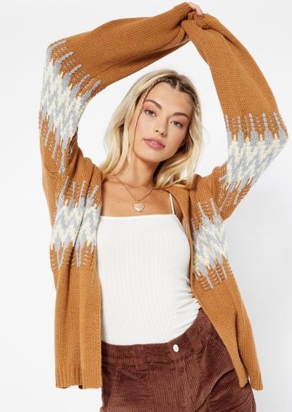 brown open front jacquard cardigan - Main Image