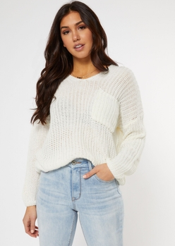 ivory chest pocket slouch sweater - Main Image