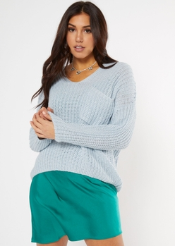 light blue chest pocket slouch sweater - Main Image