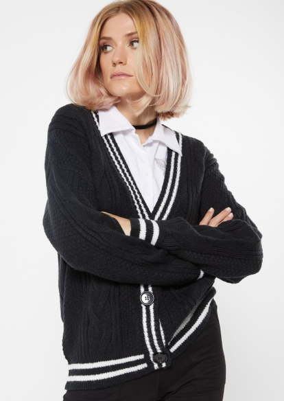 black varsity stripe trim cardigan - Main Image