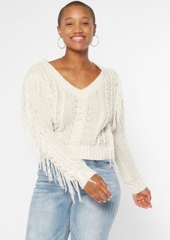 ivory v neck fringe chenille sweater - Main Image