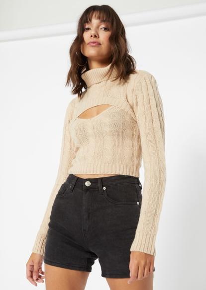 tan cable knit sweater shrug set - Main Image