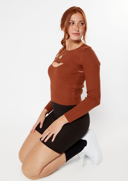 two piece brown ribbed knit arm warmer tank set - Main Image