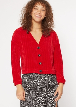 red chenille drop sleeve boxy cardigan - Main Image