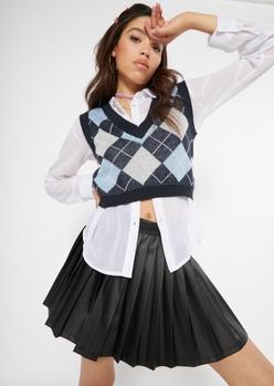 blue argyle print crop sweater vest - Main Image