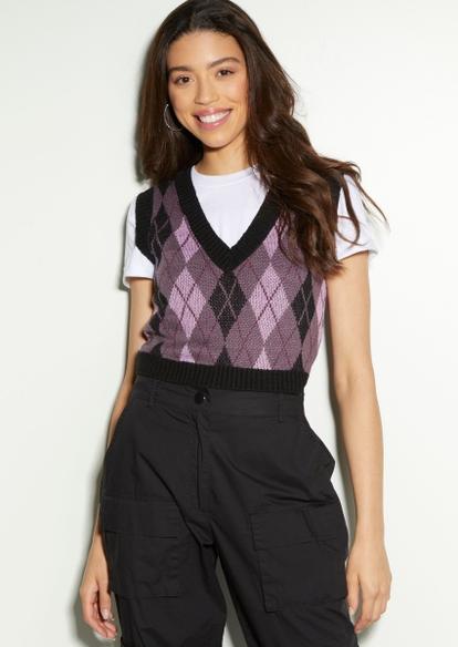 pink argyle print crop sweater vest - Main Image