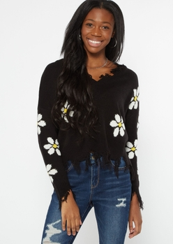 black daisy distressed sweater - Main Image