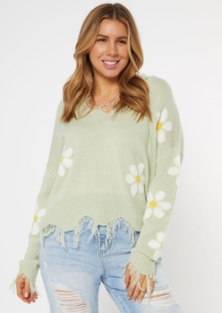 light green daisy distressed sweater - Main Image