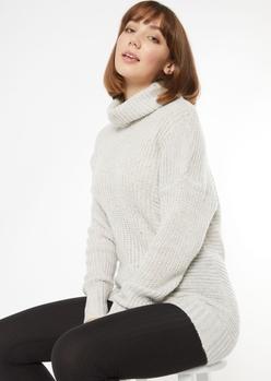 heather gray oversized turtleneck sweater - Main Image