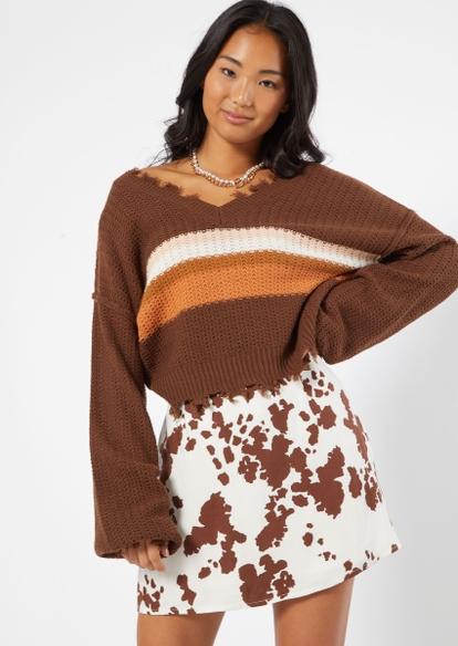 brown striped fringe hem drop shoulder sweater - Main Image
