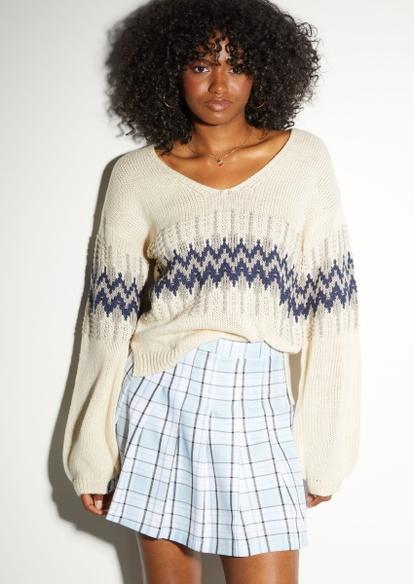 ivory fair isle v neck sweater - Main Image