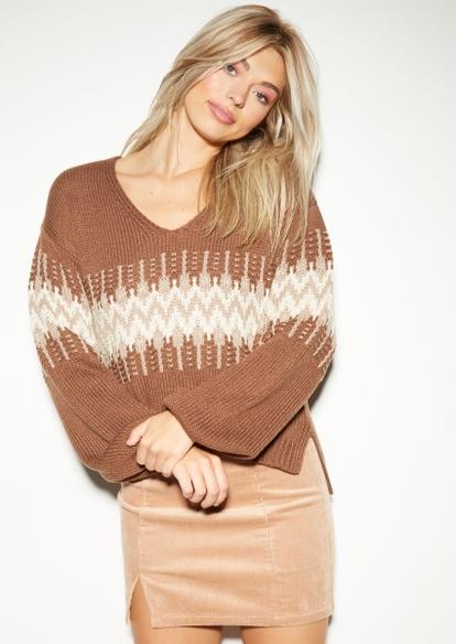 brown fair isle v neck sweater - Main Image