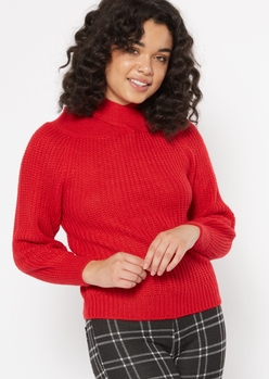 red crisscross neck cold shoulder sweater - Main Image