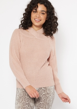 medium pink crisscross neck cold shoulder sweater - Main Image